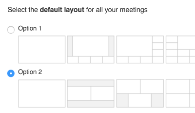 A screenshot of the Lifesize App's configurable interface. Set the layout for all your meetings.