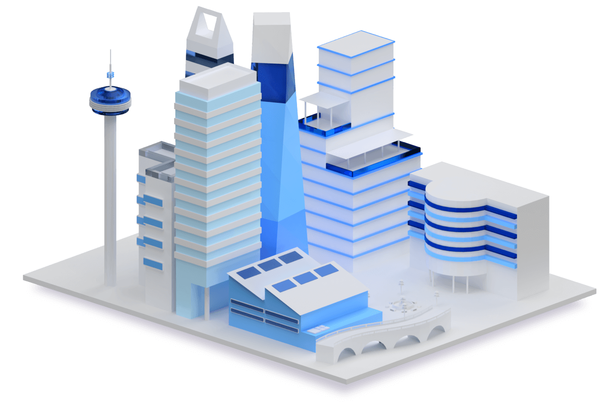 A stylized 3-dimensional rendering of a futuristic cityscape.