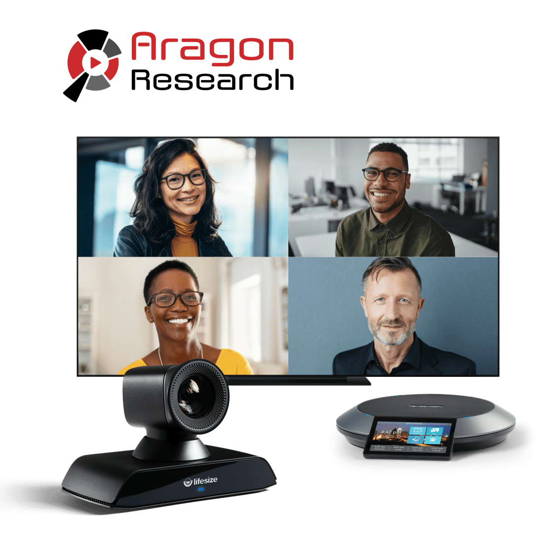Aragon Research Award Image featuring Lifesize Icon 700 and Phone HD along with a 4 way call