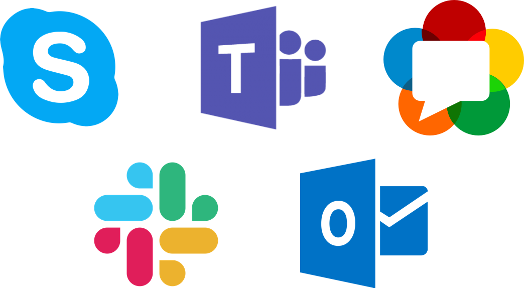 Logos of various communication platforms.