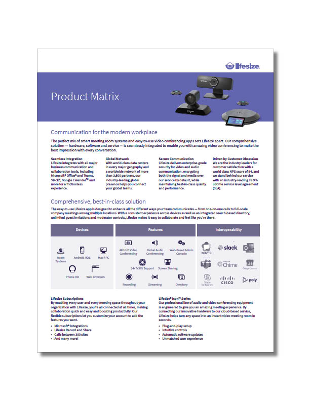 Lifesize Product Matrix