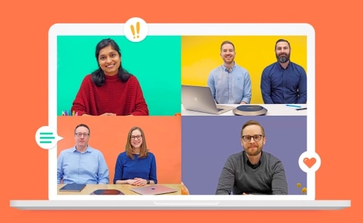 Collage of professionals on a colorful call.