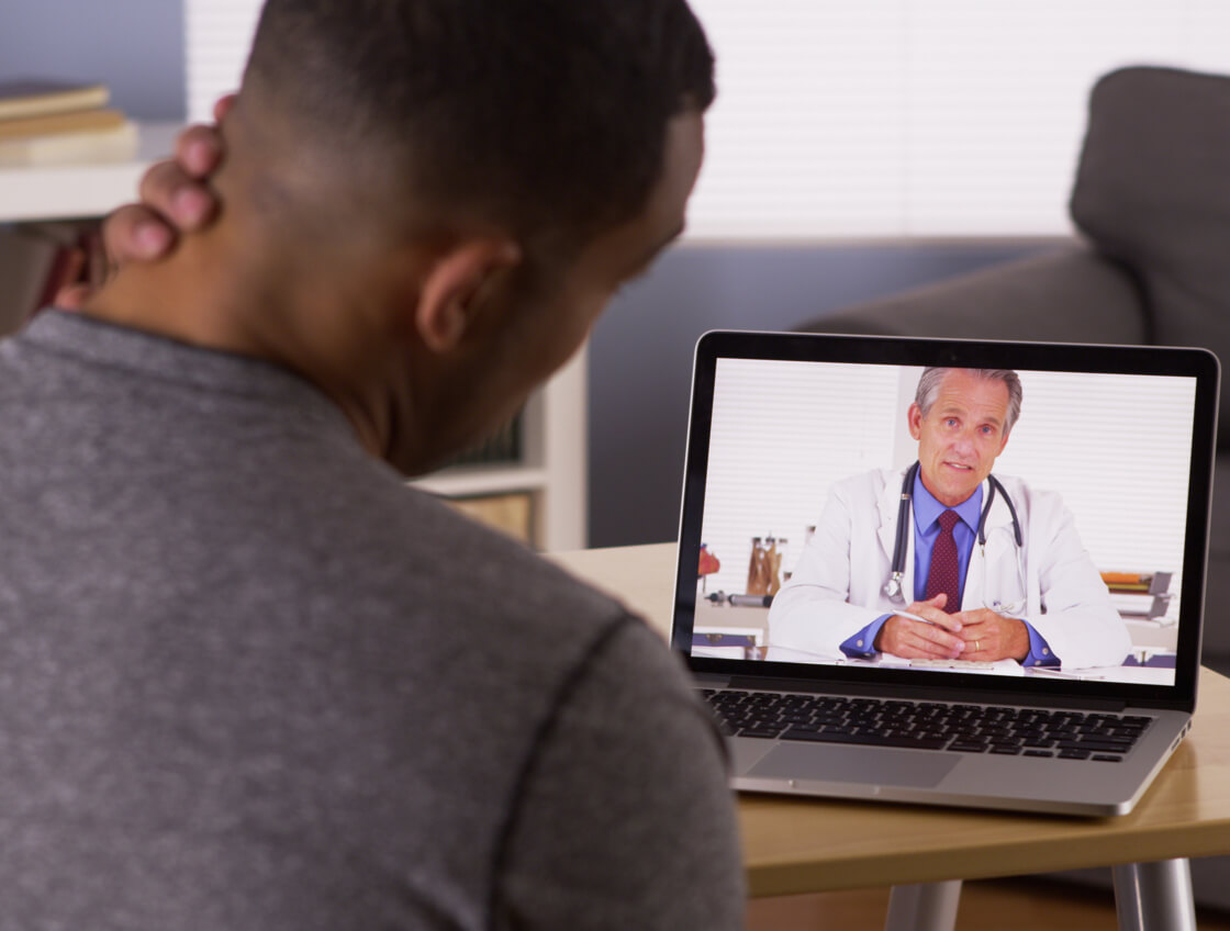 Patient viewing doctor on video call.