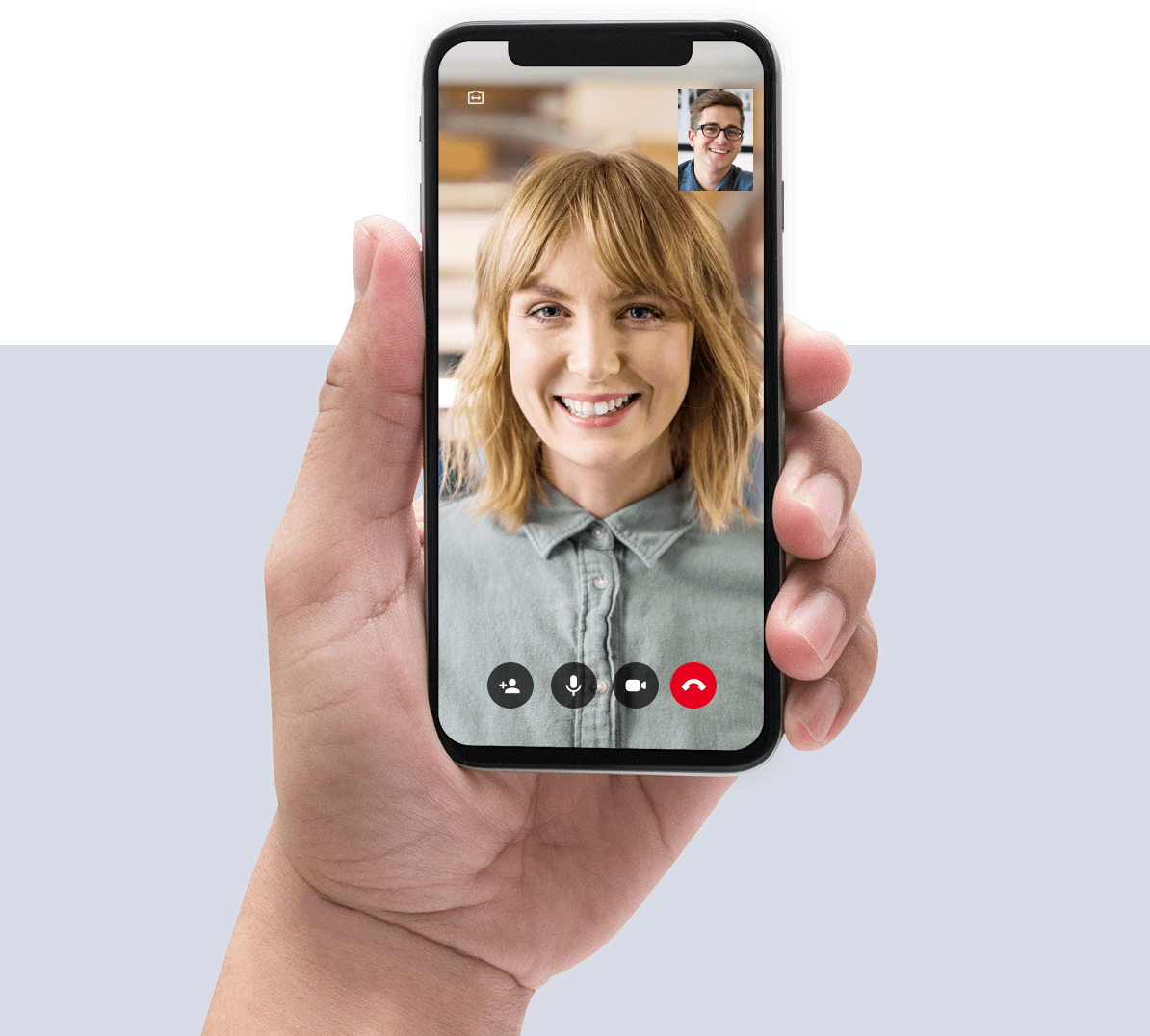 Professional on mobile phone video call.