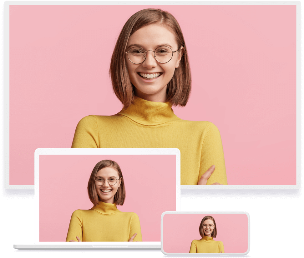 Assortment of video conferencing devices showing a pink background and a woman in yellow sweater.