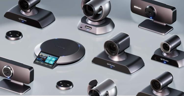 Collage of video conferencing cameras, microphones and phones