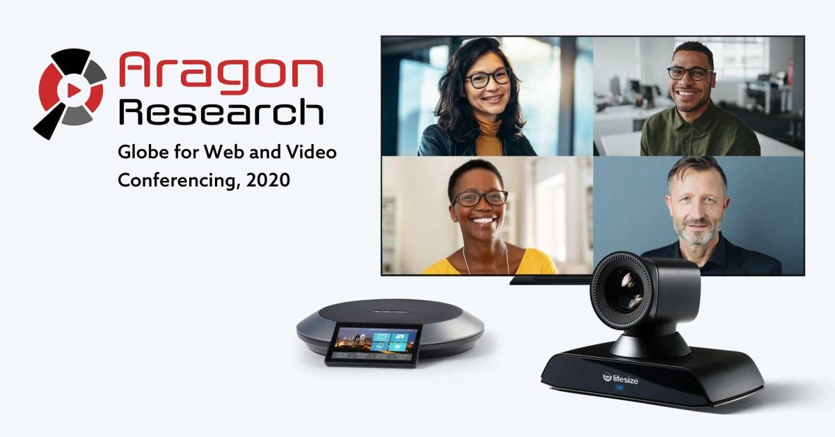 Aragon Research logo on screen with video conferencing equipment and 4 way conference call