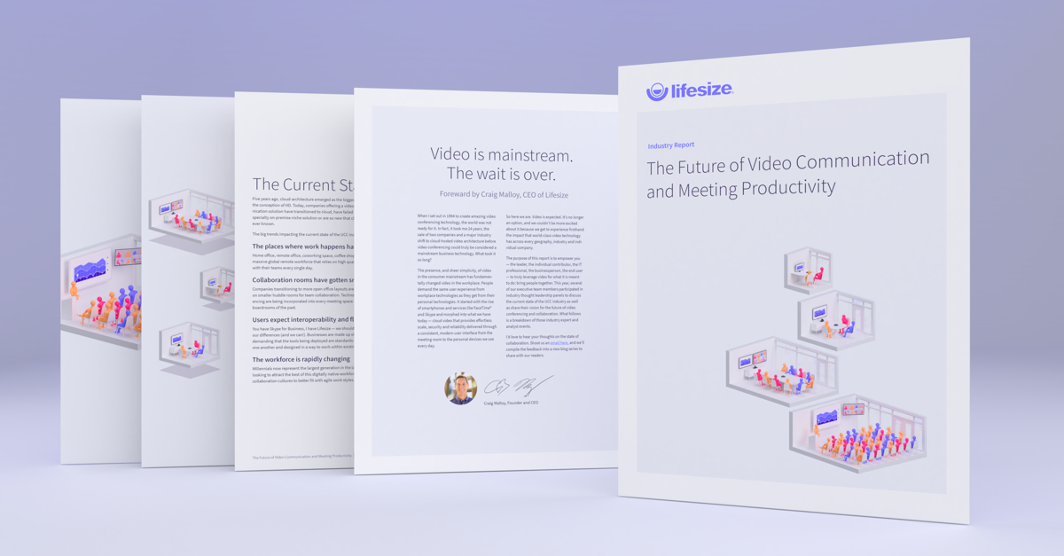 Download our new industry report, highlighting the future of video communication and meeting productivity in the workplace.