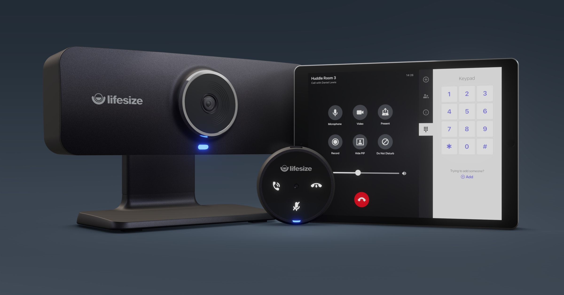 Extend configurability and customizability to your huddle room video conferencing solution with touch-enabled Micpod and Lifesize Room Controller tablet app.