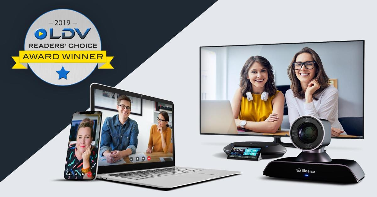 Multiple devices with people on videos calls and a Let's Do Video award winner logo