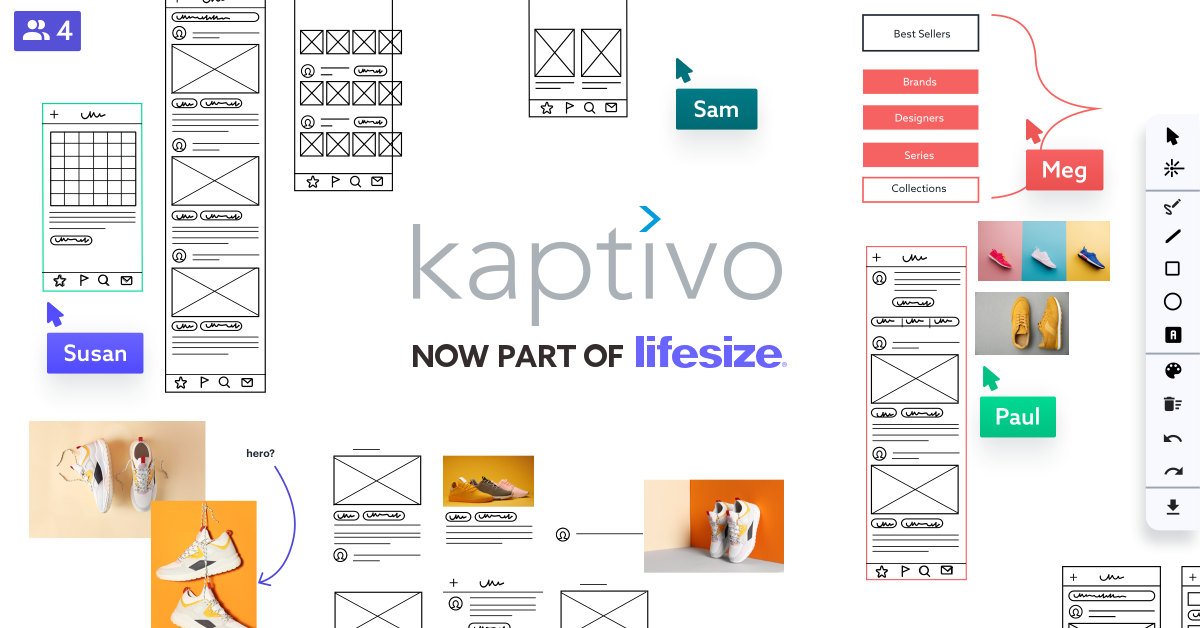 Kaptivo logo with text Now Part of Lifesize surrounded by digital whiteboard content