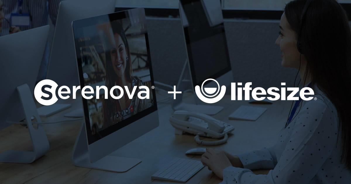 Serenova logo plus Lifesize with a lady on a video conference call in the background