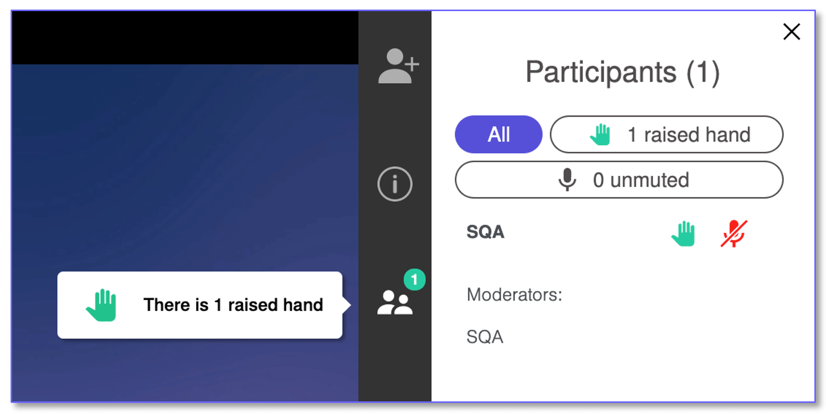Lifesize app showing the raise hand feature