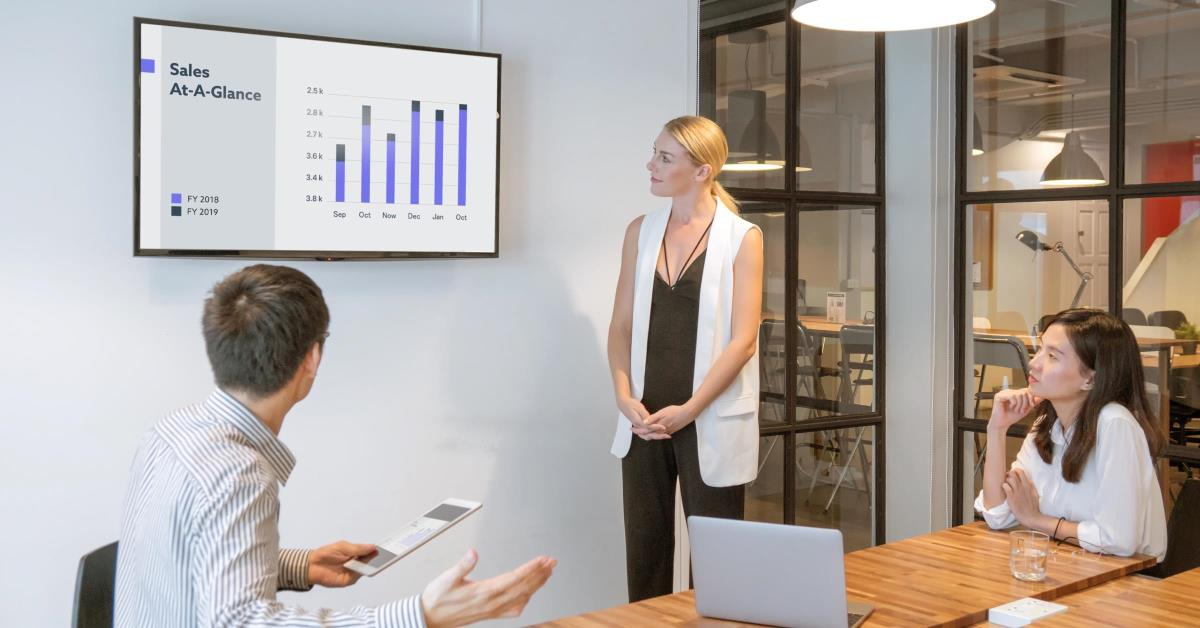 3 People in a conference room looking at a sales growth graphic on screen