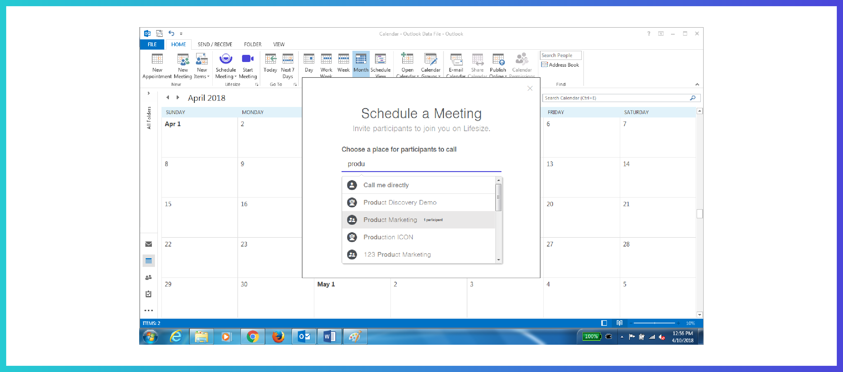 lifesize outlook add in