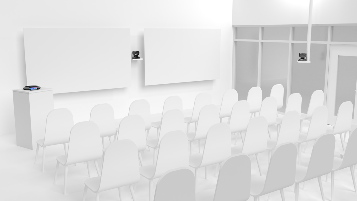Illustration of an auditorium with Lifesize Icon 800 Series Phone and Camera.