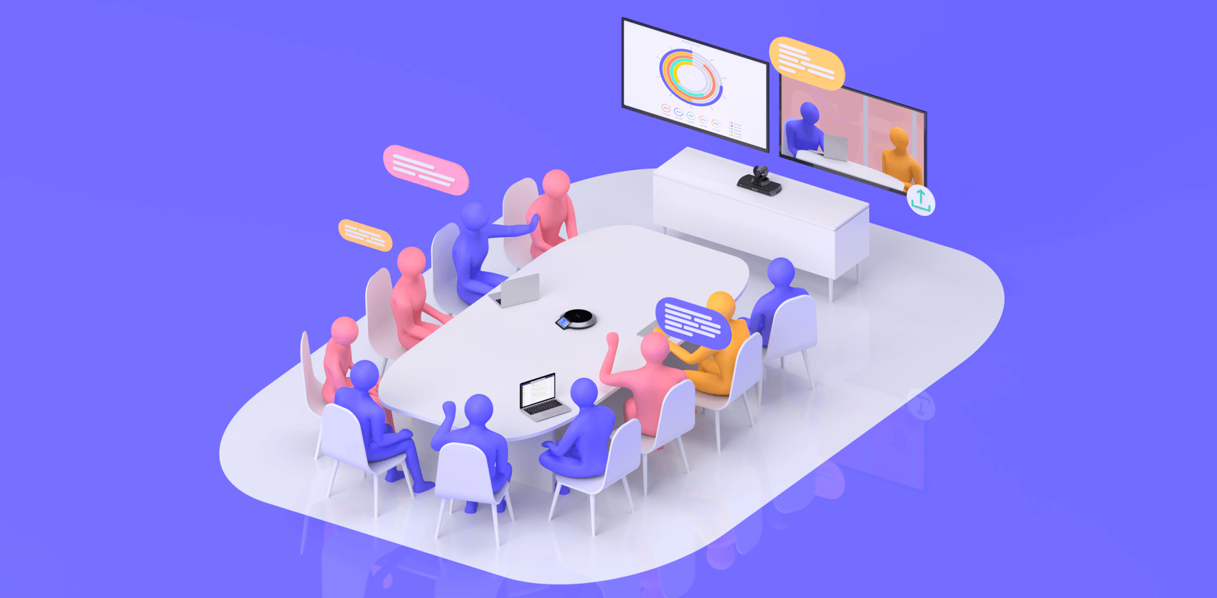 Colorful illustration of medium sized meeting with video conferencing call and share.