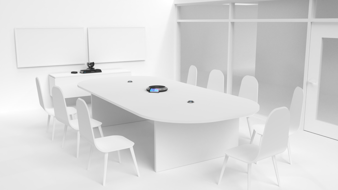 Illustration of an conference room with Lifesize Icon 600 Series Phone and Camera.