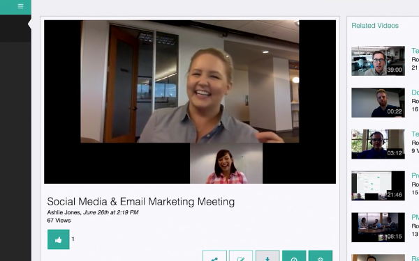 A screenshot of Lifesize Cloud's video conferencing with related videos.