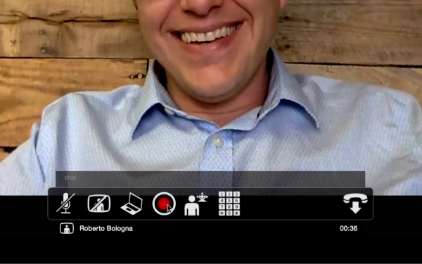 A screenshot of Lifesize Cloud's video conferencing with recording.