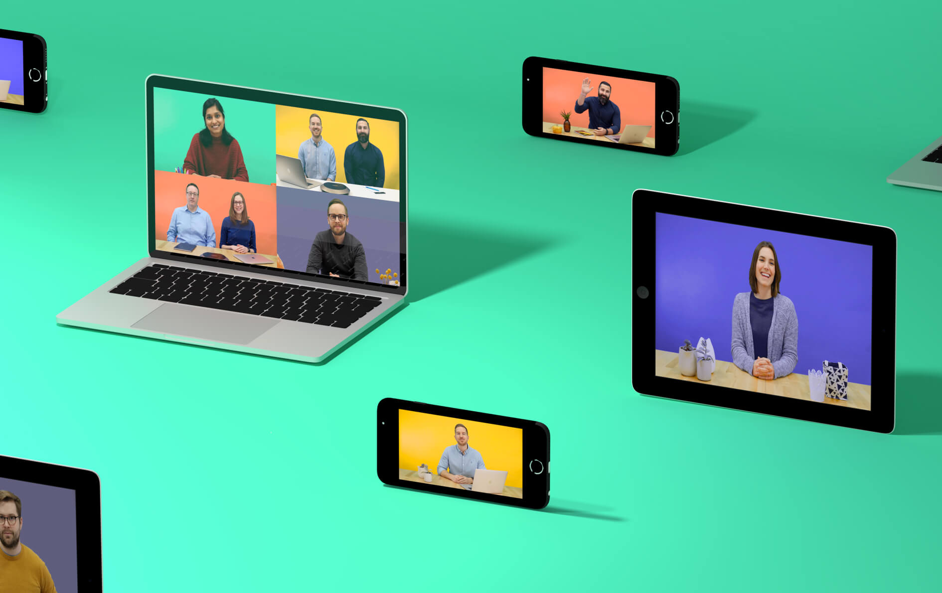 A collection of laptop, phones, and tablets displaying a Lifesize video conference on a green background.