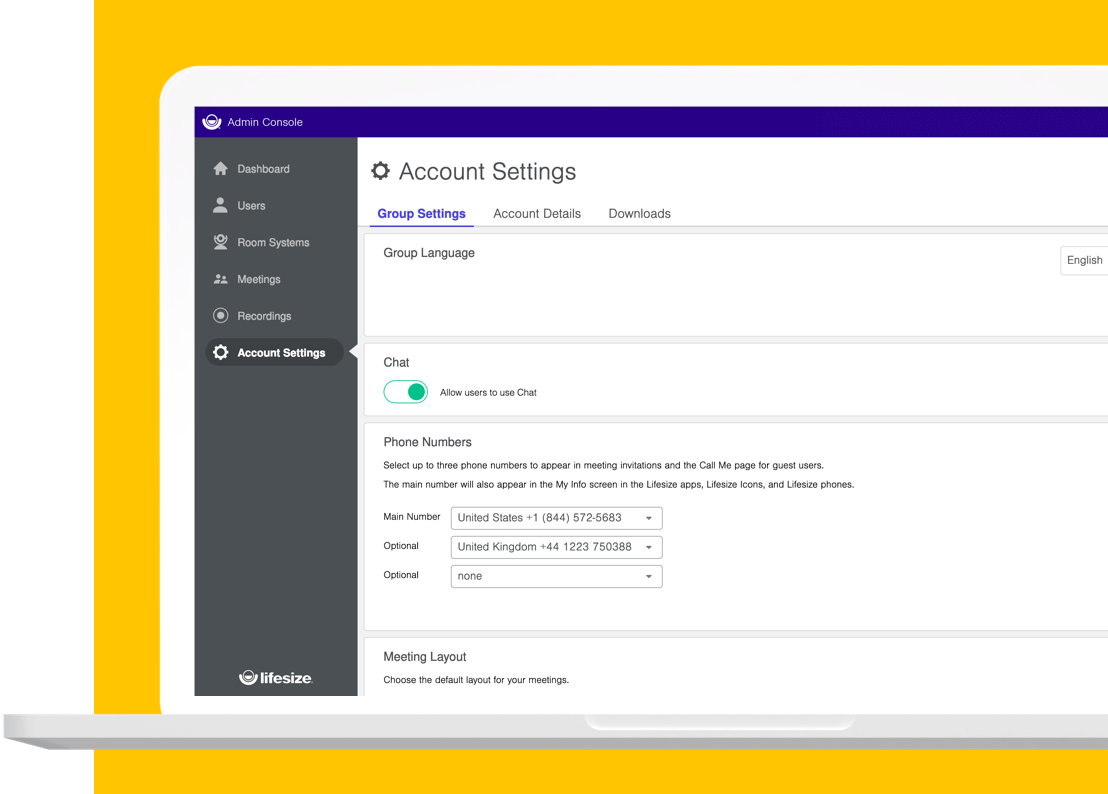 The Lifesize Admin Console application showing the Account Settings screen.