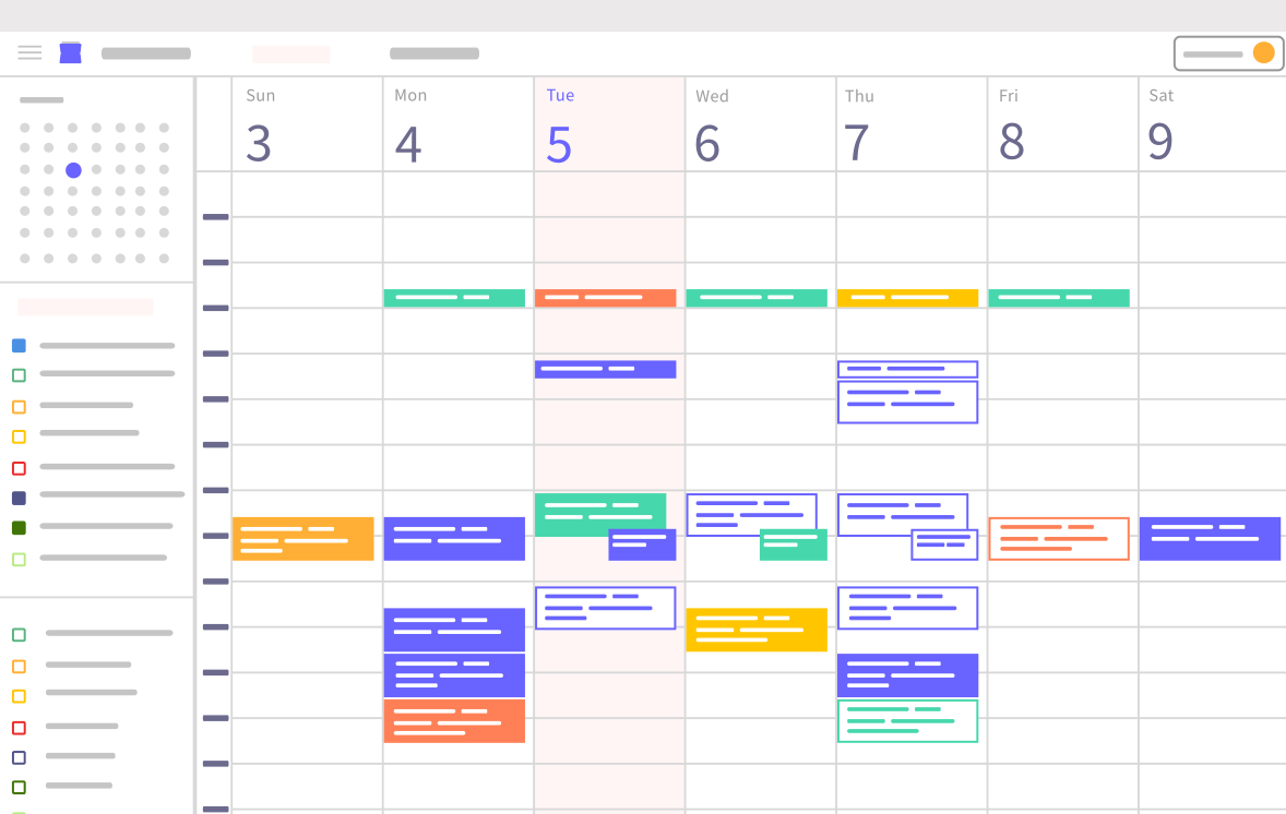 Minimal stylized vector representation of the Microsoft Outlook calendar user interface.
