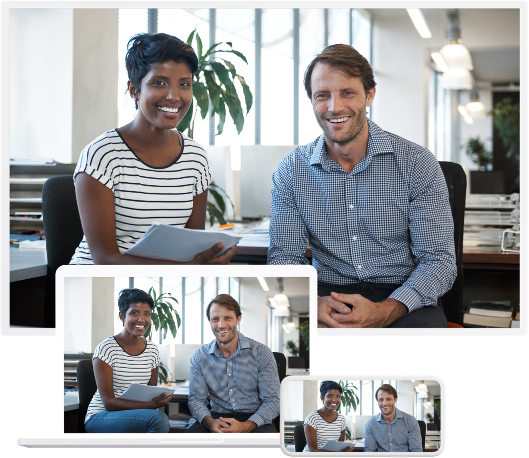 A couple shown video conferencing on multiple devices.