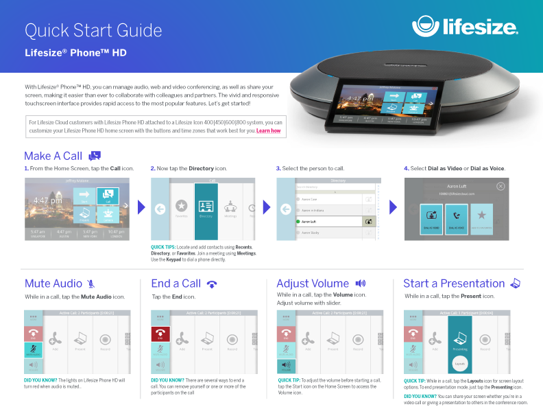Guide de prise en main de Lifesize Phone HD