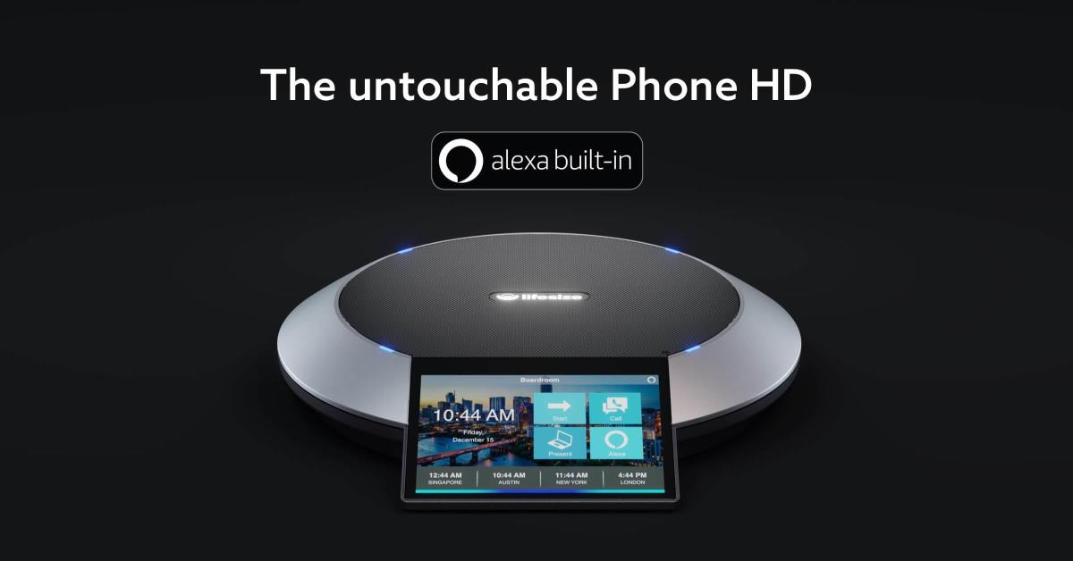The Lifesize phone HD shown with Alexa built-in