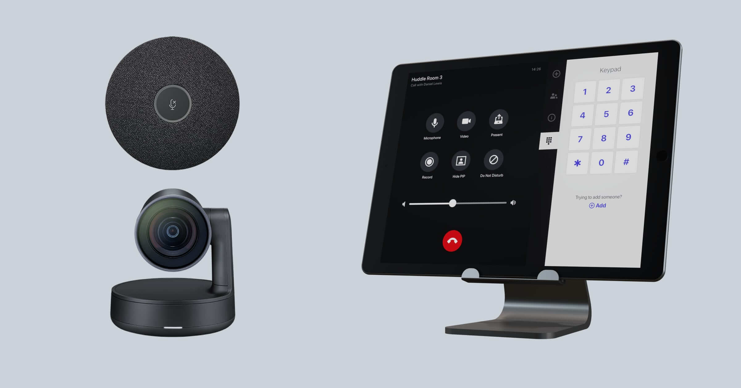 Lifesize Dash room kit with an iPad, microphone and video conferencing webcam
