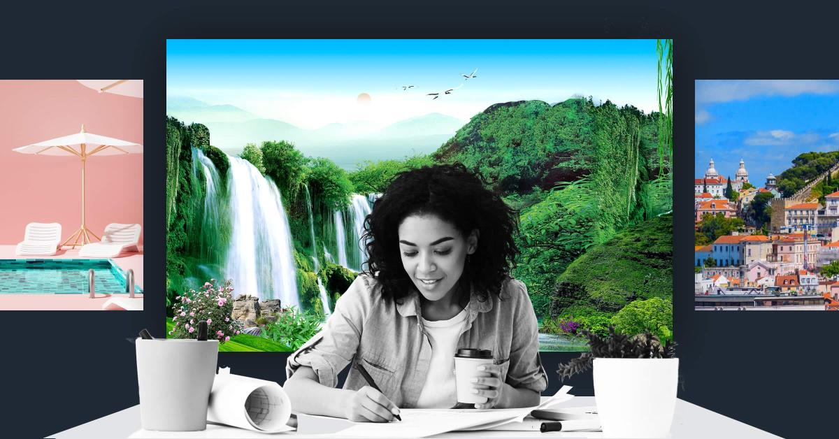 Lady on conference call with a waterfall virtual background